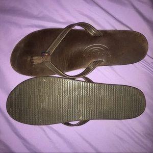 Rainbow Leather Narrow Flip-flops